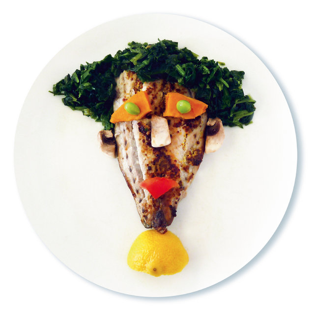 Fish, kale, sweet potato, peas, red pepper, lemon, mushrooms. (Photo by Bill and Claire Wurtzel/Welcome Books)