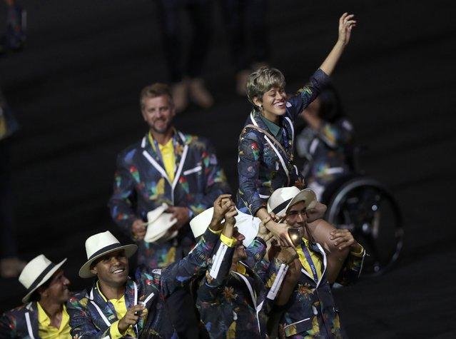 2016 Rio Paralympics, Opening ceremony, Maracana, Rio de Janeiro, Brazil on September 7, 2016. Athletes from Brazil take part in the opening ceremony. (Photo by Ueslei Marcelino/Reuters)