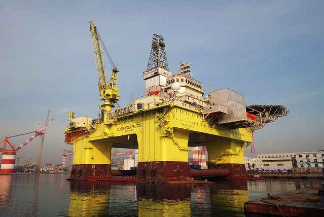 """A general view of """"COSL Prospector"""", the fourth semisubmersible drilling platform built by CIMC Raffles for COSL on November 19, 2014 in Yantai, Shandong province of China. """"COSL Prospector"""", the fourth semisubmersible platform built by CIMC Raffles for COSL is in 104.5-meter long, 70.5-meter wide and 37.55-meter high, and whose operating depth and drilling depth reach to 1,500 meters and 7,600 meters. (Photo by ChinaFotoPress via Getty Images)"""