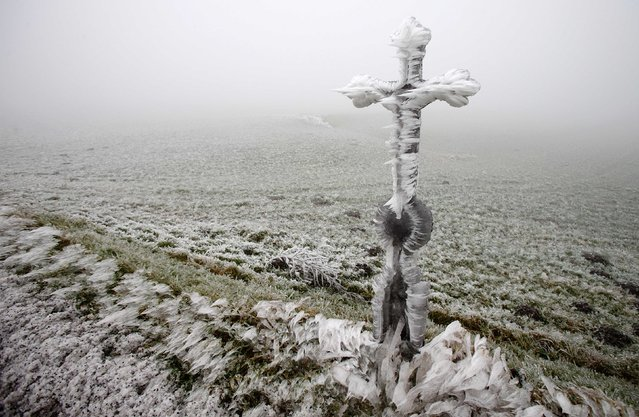 A roadside shrine is covered with ice Himberg in northern Austria, December 3, 2014. (Photo by Heinz-Peter Bader/Reuters)