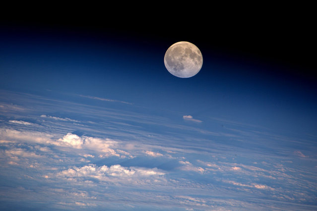This week's full Moon as photographed from on board the International Space Station by NASA astronaut Jeff Williams on August 19, 2016. Jeff is currently Commander of the Space Station for the Expedition 48 crew. (Photo by Jeff Williams/NASA)