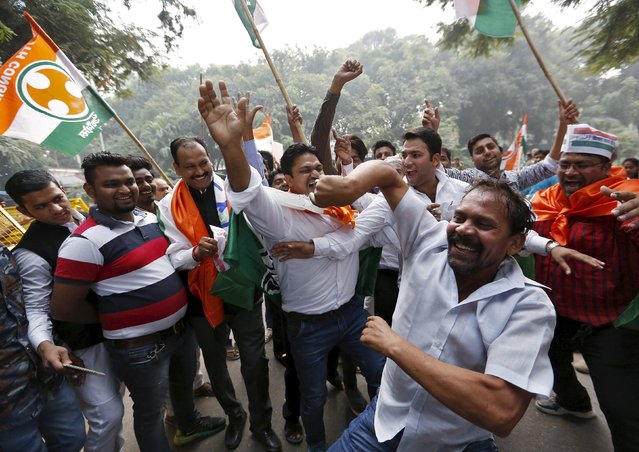 Supporters of Congress party celebrate after learning the initial results outside the party headquarters in New Delhi, India, November 8, 2015. (Photo by Anindito Mukherjee/Reuters)