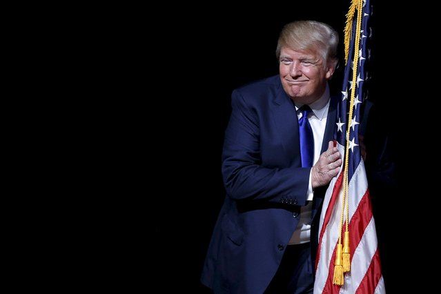"Donald Trump, who leads the Republican presidential field in opinion polls, entered the race in June, campaigning under the slogan, ""Make America great again"". Over the course of his campaign, he has sparred with popular figures like Fox News anchor Megyn Kelly and put forth controversial proposals such as a plan to have the Mexican government pay to build a wall along the U.S. border and supporting the idea of requiring all Muslims in the United States to register in a special database. Pictured in Derry, New Hampshire, August 19, 2015. (Photo by Brian Snyder/Reuters)"