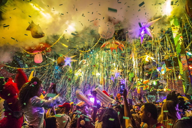 The general atmosphere during the Sambodromo do Brasil jungle party in the Cave stage, Elrow Town at Queen Elizabeth Olympic Park on August 18, 2018 in London, England. (Photo by Ollie Millington/Redferns)