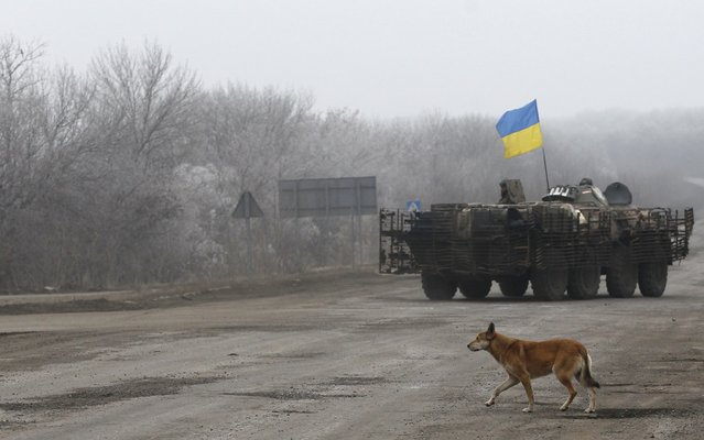 A walks near a Ukrainian armored vehicle driving on the road between the towns of Dabeltseve and Artemivsk, Ukraine, Saturday, February 14, 2015. (Photo by Petr David Josek/AP Photo)