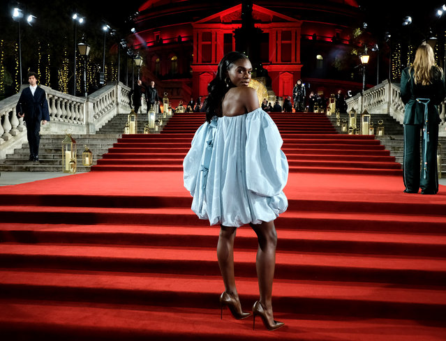 Dina Asher-Smith arrives at The Fashion Awards 2018 In Partnership With Swarovski at Royal Albert Hall on December 10, 2018 in London, England. (Photo by Mike Marsland/BFC/Mike Marsland/Getty Images)