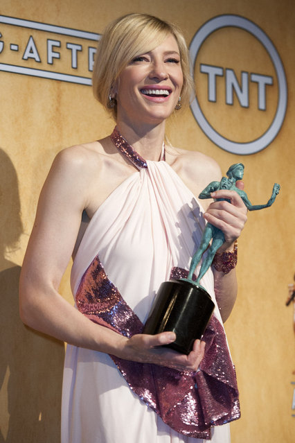 Cate Blanchett in the press room after winning outstanding performance by a female actor in a leading role at the 20th Annual Screen Actors Guild Awards. (Photo by Leonard Ortiz/ZUMApress.com)