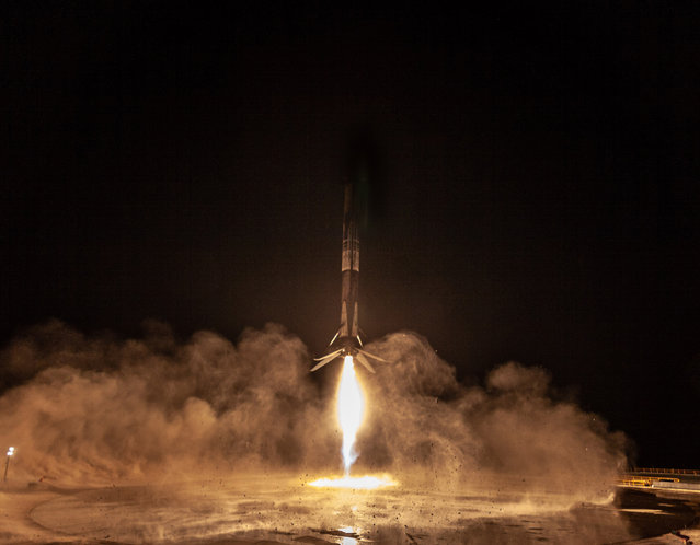 SpaceX Falcon 9 rocket' s first stage landed back at Vandenberg Air Force Base in California on October 7, 2018 after the launch of the SAOCOM 1A satellite. It was the first time a Falcon 9 first stage was landed back at Vandenberg Air Force Base. (Photo by UPI/Barcroft Images)