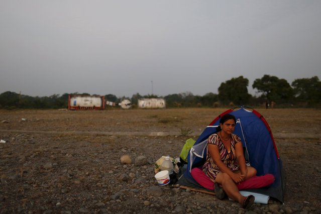 A Cuban migrant sits on a tent as she wakes up at a provisional shelter in Paso Canoas, border with Costa Rica, in Panama, March 21, 2016. (Photo by Carlos Jasso/Reuters)