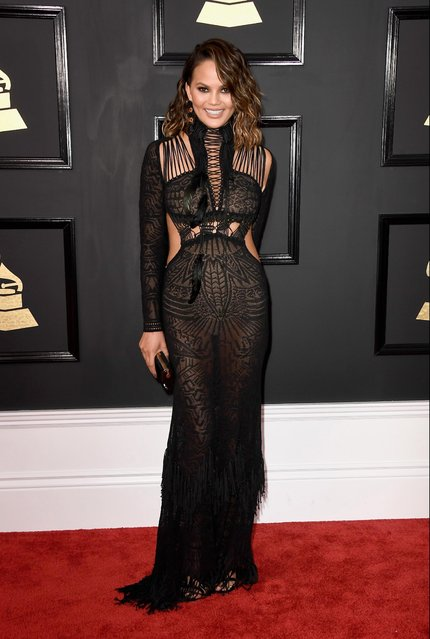 Model Chrissy Teigen attends The 59th GRAMMY Awards at STAPLES Center on February 12, 2017 in Los Angeles, California. (Photo by Frazer Harrison/Getty Images)
