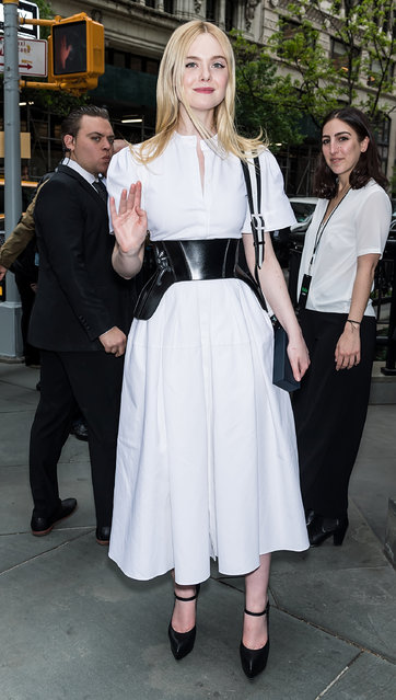 Actress/model Elle Fanning is seen leaving the Hulu 19 Brunch at Scarpetta  on May 01, 2019 in New York City. (Photo by Gilbert Carrasquillo/GC Images)