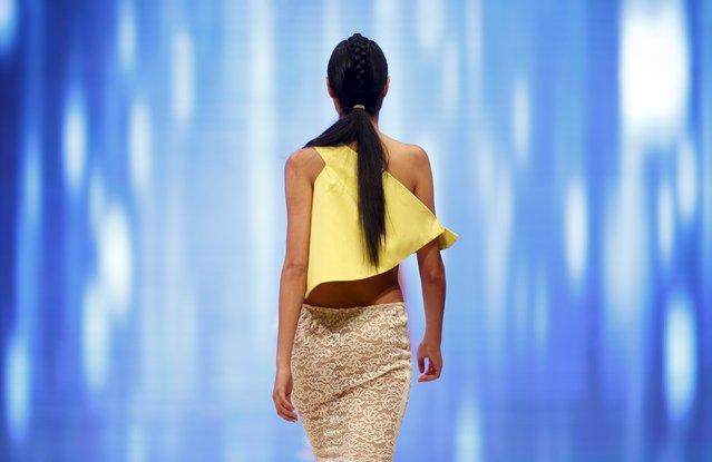 A model presents a creation by Maltese designer Caroline Hili at the Malta Fashion Awards 2015 at the Marsa Shipbuilding warehouse in Marsa, outside Valletta in Malta, May 16, 2015. (Photo by Darrin Zammit Lupi/Reuters)
