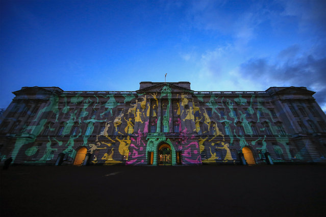 Buckingham Palace is lit with a projection of a colourful peacock at a reception this evening to mark the launch of the UK-India Year of Culture 2017 on February 27, 2017 in London, England.  The reception will bring together the best of British and Indian culture and creativity, represented through a range of high profile guests with an interest in both countries. The attendees include guests from the fields of performing arts, fashion, food, literature and sport such as Kunal Nayyar, Neha Kapur, Ayesha Dharker, Kapil Dev, Rio Ferdinand, Anoushka Shankar and Joe Wright. (Photo by Adam Gerrard - WPA Pool/Getty Images)