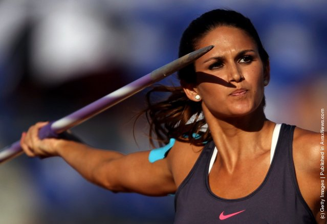 Leryn Franco of Paraguay competes in the women's javelin throw final during Day 13 of the XVI Pan American Games at Telmex Athletics Stadium