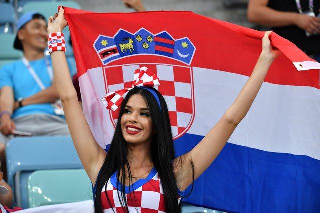 A fan of Croatia is seen before the 2018 FIFA World Cup Russia Quarter Final match between Russia and Croatia at Fisht Stadium on July 7, 2018 in Sochi, Russia. (Photo by Mao Jianjun/China News Service/VCG)