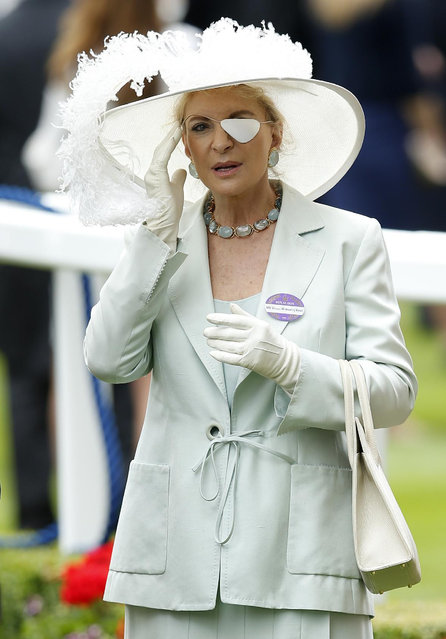 Princess Michael of Kent attends the second day of  the Royal Ascot horse racing meet at Ascot, England, Wednesday, June 17, 2015. Princess Michael wears an eye patch after she recently underwent eye surgery. (AP Photo/Alastair Grant)