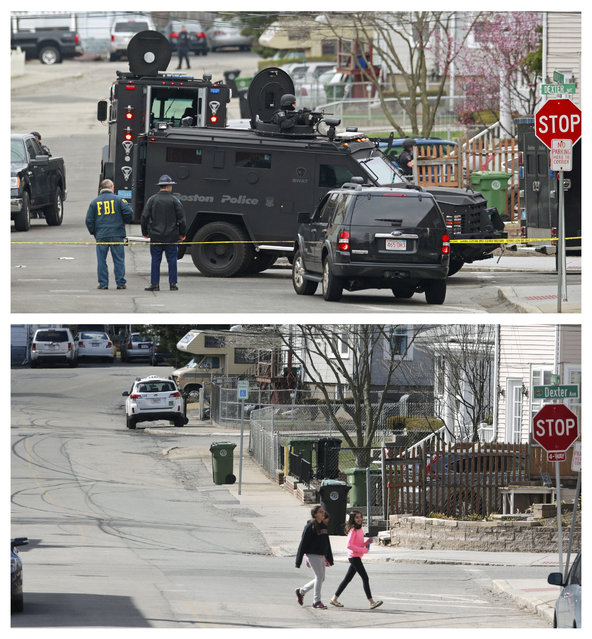 This combination of April 19, 2013 and April 9, 2014 photos show law enforcement authorities searching for Boston Marathon bombing suspect Dzhokhar Tsarnaev in Watertown, Mass., and a view of the same street as children return home from school almost a year later. (Photo by Charles Krupa/AP Photo)