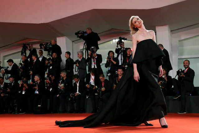 """Elizabeth Debicki walks the red carpet ahead of the """"The Burnt Orange Heresy"""" premiere during the 76th Venice Film Festival at Sala Grande on September 07, 2019 in Venice, Italy. (Photo by Maria Moratti/Getty Images)"""