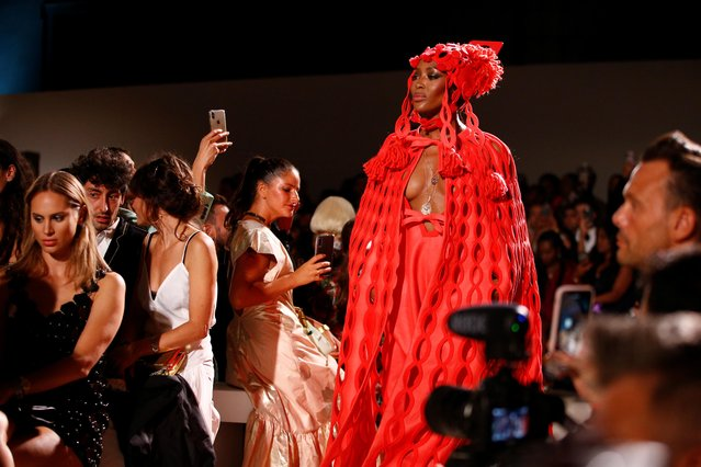 British Model Naomi Campbell presents a creation during the Fashion for Relief catwalk show at London Fashion Week in London, Britain, September 14, 2019. (Photo by Henry Nicholls/Reuters)