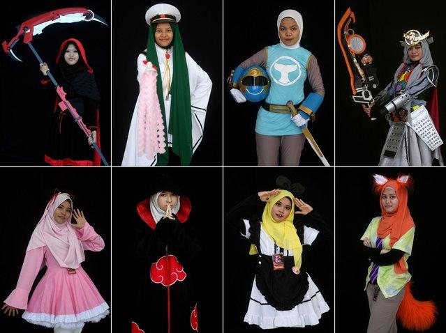 "This combination of photographs shows Muslim girls wearing the ""hijab"" dressed as popular cosplay characters during the ""Hijab Cosplay"" event in Subang Jaya, outside of Kuala Lumpur, on April 29, 2017. (Photo by Manan Vatsyayana/AFP Photo)"