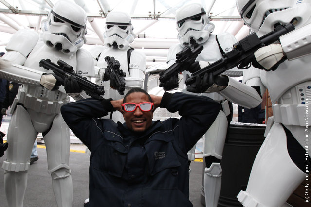 Characters from Star Wars pose for a photocall to promote the release of Star Wars: Episode 1 – The Phantom Menace 3D at The London Eye