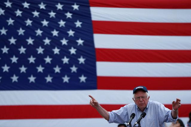 U.S. Democratic presidential candidate Bernie Sanders speaks in East Los Angeles, California, U.S. May 23, 2016. (Photo by Lucy Nicholson/Reuters)