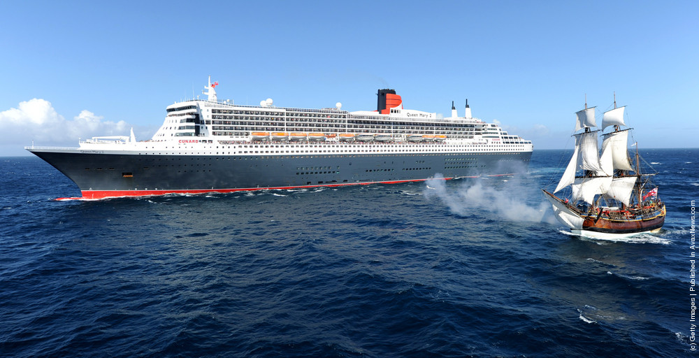 Queen Mary 2 and The Endeavour Cross Paths as They Circumnavigate Australia