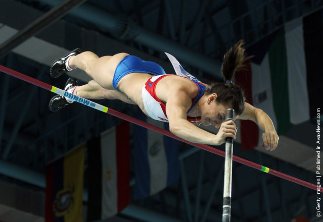 Elena Isinbaeva of Russia competes in the Women's Pole Vault Final during day three of the 14th IAAF World Indoor Championships at the Atakoy Athletics Arena