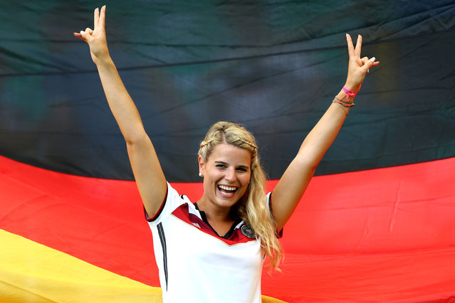 A fan of Germany shows her support prior to the 2014 FIFA World Cup Brazil Group G match between Germany and Portugal at Arena Fonte Nova on June 16, 2014 in Salvador, Brazil. (Photo by Martin Rose/Getty Images)
