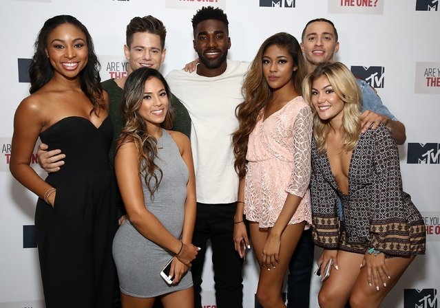 "(L-R)  Camille Satterwhite, Mikala Thomas, Morgan St. Pierre, Prosper Moongue-Muna, Francesca Duncan, Giovanni Rivera and Tori Deal attend MTV's ""Are You The One?"" Season Four Premiere on June 2, 2016 in New York City. (Photo by Astrid Stawiarz/Getty Images for MTV)"