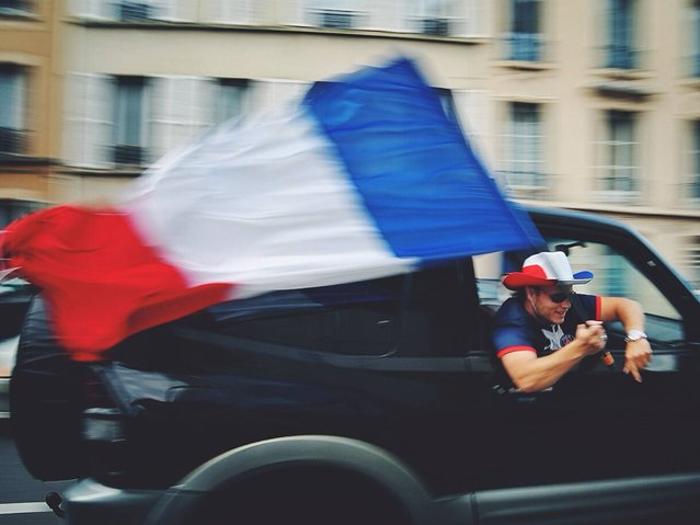 France: French fans cheering for their team. (Photo by Anthony Lepinay)