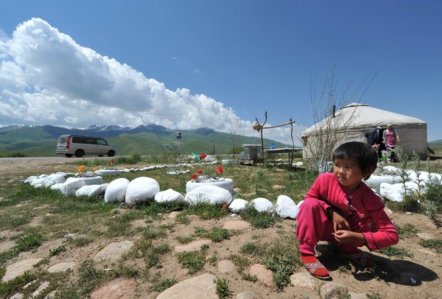 A little girl sits near a yurt, the traditional portable dwelling on nomads, at the Suu-Samyr plateau, 2,500 meters above the sea level, near the ancient Silk Road network of trade routes between the East and West, some 200 km outside Bishkek, the capital of Kyrgyzstan, on July 8, 2014. (Photo by Vyacheslav Oseledko/AFP Photo)