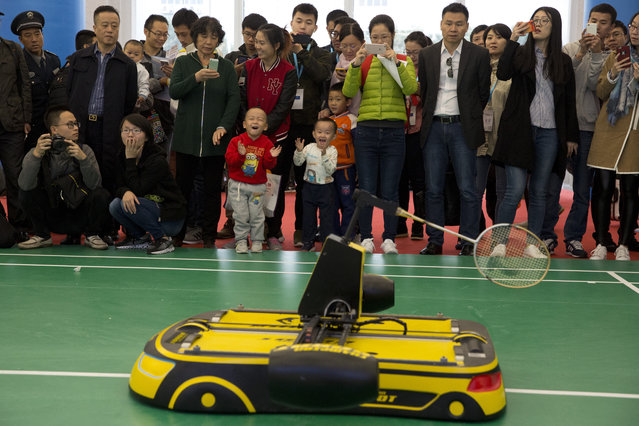 Children cheer on a robot that plays badminton during the World Robot Conference in Beijing, China, Friday, October 21, 2016. (Photo by Ng Han Guan/AP Photo)
