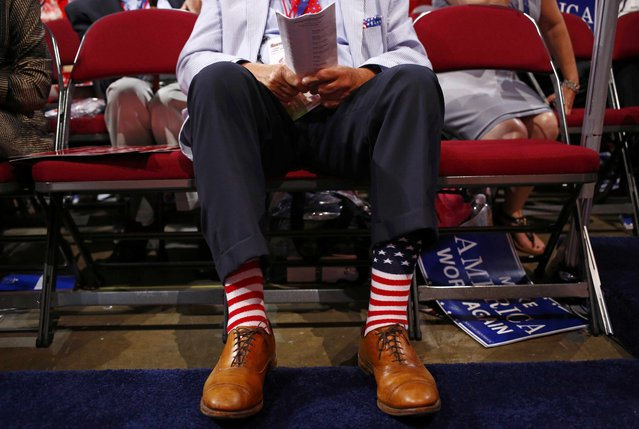 A delegate wears colorful socks on the second day of the Republican National Convention in Cleveland, Ohio, U.S. July 19, 2016. (Photo by Aaron P. Bernstein/Reuters)