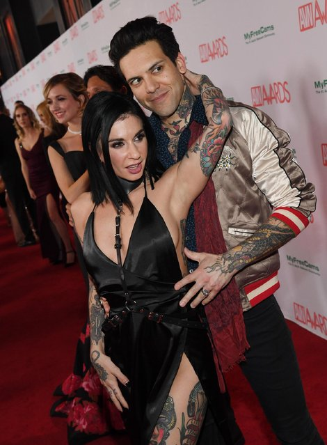 Adult film actress/director Joanna Angel and her husband, adult film actor Small Hands, attend the 2018 Adult Video News Awards at the Hard Rock Hotel & Casino on January 27, 2018 in Las Vegas, Nevada. (Photo by Ethan Miller/Getty Images)