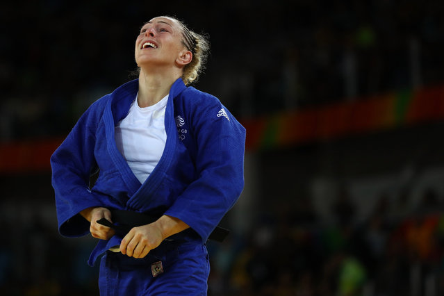 Sally Conway of Great Britain reacts after defeating Gevrise Emane of France during a Women's -70kg bout on Day 5 of the Rio 2016 Olympic Games at Carioca Arena 2 on August 10, 2016 in Rio de Janeiro, Brazil. (Photo by Elsa/Getty Images)