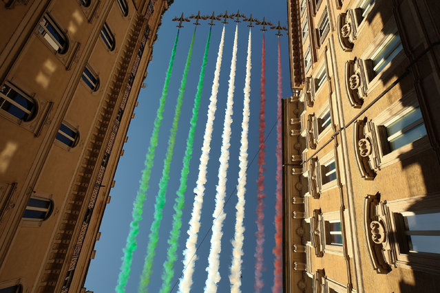 Rome marks 74th Festa della Repubblica on 2 June 2020. Italy's celebrate the national day, Festa della Repubblica in 2020 with the events for the 74th edition of Republic Day reduced due to the covid-19 crisis. The Frecce Tricolori, the aerobatic demonstration team of the Italian Air Force, popular aeronautical display featuring fighter jets, fly in formation over the centre of Rome, emitting plumes of the three colours from the Italian flag. (Photo by Giuseppe Pino Fama/Pacific Press/Rex Features/Shutterstock)
