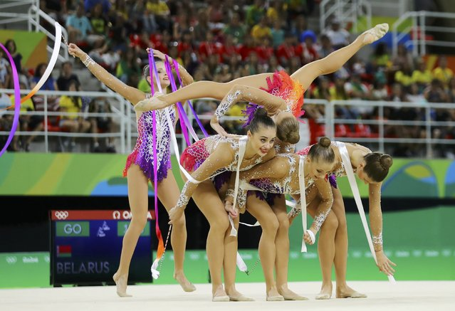 2016 Rio Olympics, Rhythmic Gymnastics, Preliminary, Group All-Around Qualification, Rotation 1, Rio Olympic Arena, Rio de Janeiro, Brazil on August 20, 2016. Team Belarus (BLR) compete using ribbons. (Photo by Mike Blake/Reuters)