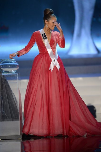 Miss USA, Olivia Culpo, appears on stage during the Miss Universe Pageant at Planet Hollywood in Las Vegas, Nevada on December 19, 2012. Olivia Culpo was crowned Miss Universe 2012,  beating out beauties from around the world to claim the coveted title.  The title of first runner-up title went to the contestant from the Philippines, Janine Tugonon