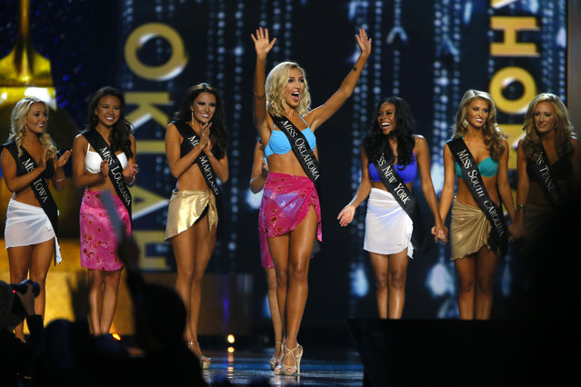 Miss Oklahoma Sarah Klein react to being named a finalist in the talent competition during the Miss America 2017 pageant, Sunday, September 11, 2016, in Atlantic City, N.J. (Photo by Noah K. Murray/AP Photo)