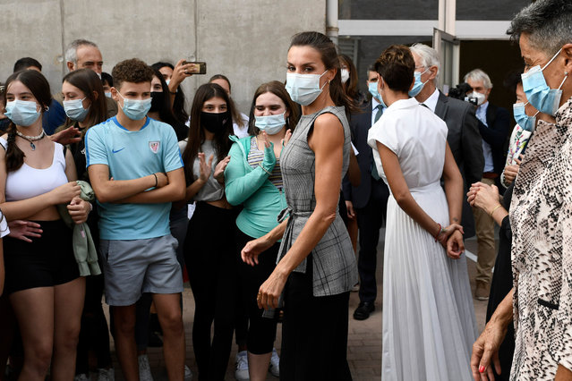 """Queen Letizia of Spain is seen arriving to """"EGA"""" school to celebrate the opening of the School Course 20-21 on September 14, 2020 in Navarra, Spain. (Photo by Carlos Alvarez/Getty Images)"""