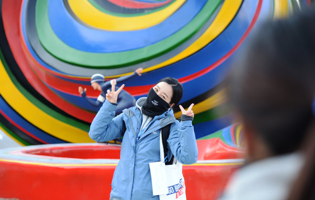Sunjin Kim of  Olympic Channel Services poses for her picture taking at PyeongChang Plaza day before the opening ceremony.. February 8, 2018. The 2018 Winter Olympics will be held from February 9 to February 25, 2018.(Photo by Hyoung Chang/The Denver Post)