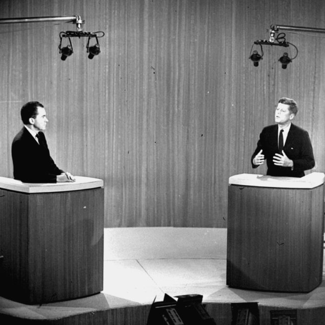 In this October 21, 1960 file photo, Sen. John F. Kennedy, D-Mass., right, speaks and Vice President Richard M. Nixon listens during the fourth presidential debate from a New York studio. The fall debates are always a big part of any presidential campaign. But with many 2016 voters underwhelmed by both Hillary Clinton and Donald Trump, this year's debates could well be more influential than usual. (Photo by AP Photo)