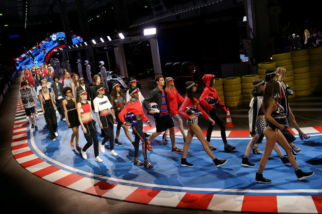 Models present creations from the Tommy Hilfiger Spring/Summer 2018 collection during Milan Fashion Week in Milan, Italy February 25, 2018. (Photo by Tony Gentile/Reuters)