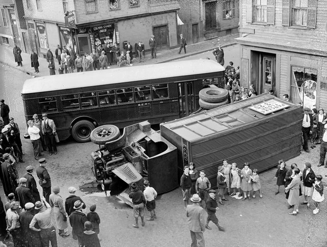 Truck and El Bus collide in South Boston, 1934. (Photo by Leslie Jones)