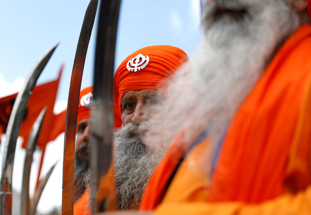 Participants take part in the Annual Sikh Day Parade in Lisbon, Portugal April 29, 2018. (Photo by Rafael Marchante/Reuters)