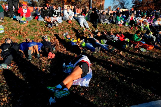 Runners sleep before competing in the 2016 New York City Marathon in the Manhattan borough of New York City, NY, U.S. November 6, 2016. (Photo by Eduardo Munoz/Reuters)