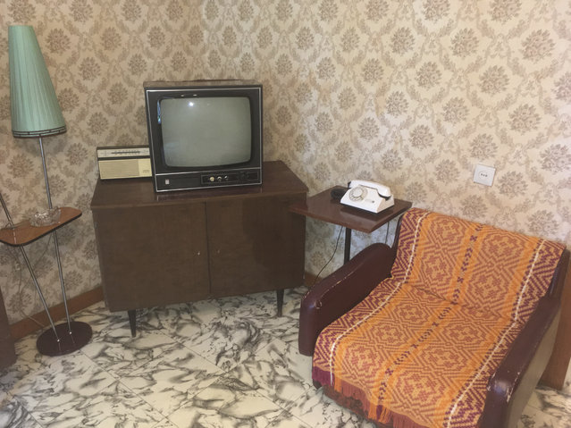 In this photo taken on Thursday, June 28, 2018, the telephone in the apartment of Andrei Sakharov that Soviet leader Mikhail Gorbachev had installed so he could call Sakharov and deliver word personally that he had been released from house arrest, in Nizhny Novgorod, Russia. (Photo by Gerald Imray/AP Photo)