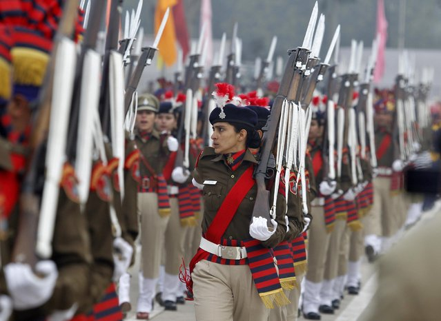 Police women march during a Republic Day parade in the northern Indian city of Chandigarh January 26, 2015. (Photo by Ajay Verma/Reuters)
