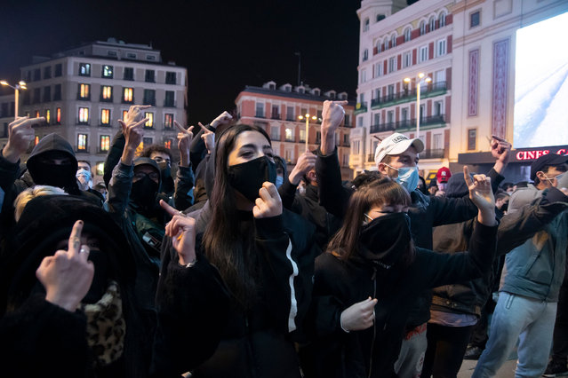A hundred people have gathered around 7:00 p.m. in the central Plaza de Callao in Madrid on February 20, 2021 to demonstrate against the imprisonment of rapper Pablo Hasél. A device of 300 National Police officers have shielded the area to prevent violent altercations. (Photo by Alberto Sibaja/Pacific Press/Rex Features/Shutterstock)